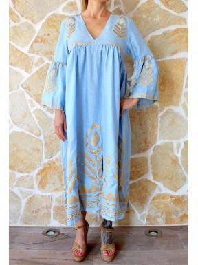 KORI DRESS LIGHT BLUE /GOLD