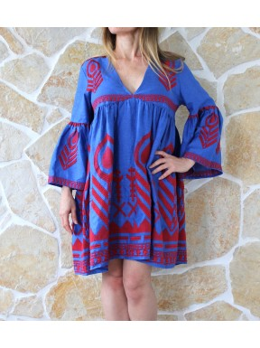 KORI DRESS INDIGO /RED